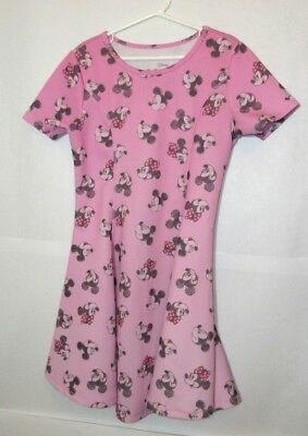 Disney Minnie Mouse Girls Pink Dress Size Large 10/12 Short Sleeves