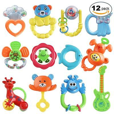 12 Baby Toys Newborn Toddler Rattles Teether Kids Sensory Hand Shaking Bell Gift