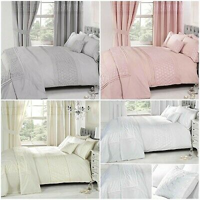 Everdean Embroidered Quilt Cover + Matching Curtains + Bedspread Luxury Bedding