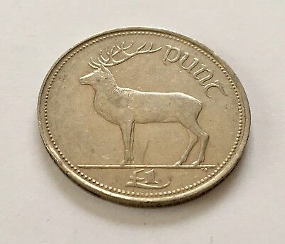Irish Pound £1 Punt 1996 Red Deer 1990-2000 Coin Ireland Money Currency EIRE