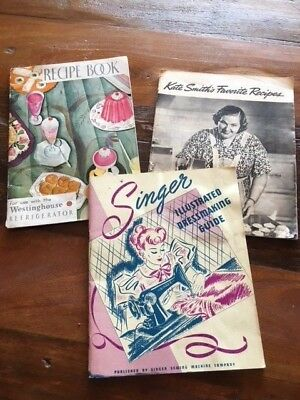 Vintage Recipe and Sewing books Westinghouse, Kate Smith and Singer