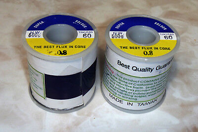 "2 Lot Super Solder 60/40 Sn60 500g Spool 0.8mm .032"" Rosin Core *Located In USA*"