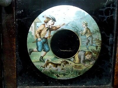 Antique American Waterbury Co. Clock Case With Glass Panel Showing Boys Playing