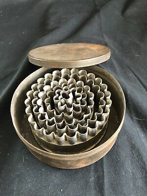 Vintage Joseph Company Germany Metal Biscuit Dough Cutters In Metal Tin With Lid