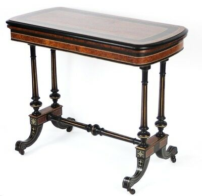 Antique Ebony and Walnut Card Table c.1880 - FREE Shipping [PL4576]