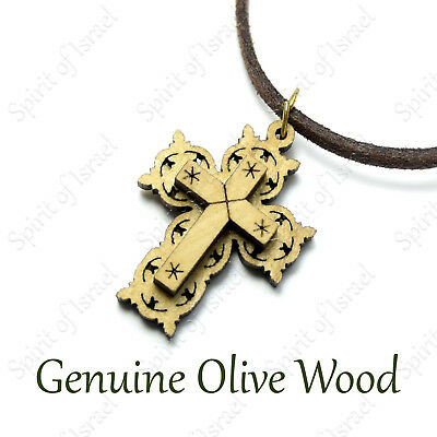 Wooden Christian Orthodox Cross Pendant Necklace Olive Wood Holy Land Men's Gift