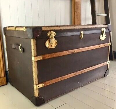 Awesome Antique Steamer Trunk Travel Chest Vintage Luggage Storage Evergreenethics Interior Chair Design Evergreenethicsorg