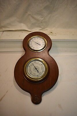 Vintage Taylor Instrument Barometer Mahogany Wall Hanger With Brass Bezels