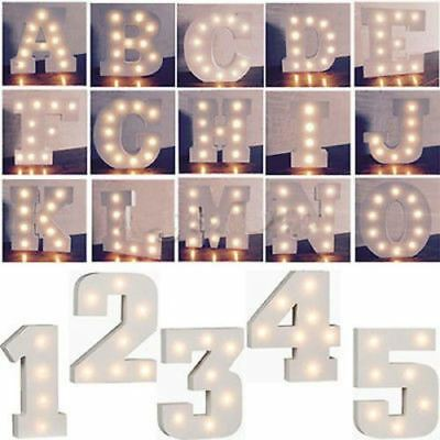 LED Light Up Alphabet Letters/Numbers White Lights Wooden Symbols Standing
