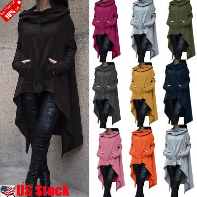 Women's Long Sleeve Casual Poncho Coat Pullover Long Hoodies Sweatshirt Tops USA