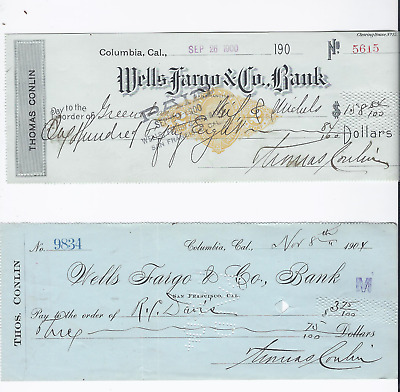 4 Different Wells Fargo Agents Checks 1890-1908 Columbia Tuolumne Cal