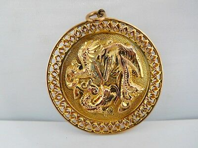 Unknown Chinese Vintage / Antique Yellow Metal Dragon Pendant