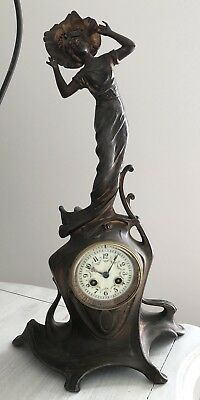 Antique Art Nouveau Cast Bronzed Spelter Boudoir Figural Clock Working W/ Key