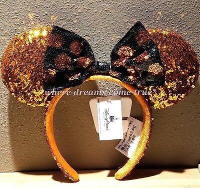 Disney Parks Minnie Mouse Halloween Ears Sequined Headband (NEW)