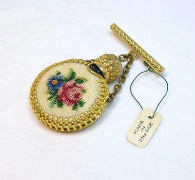 Vintage Glass PERFUME with Petitpoint Cover Original Pin from France
