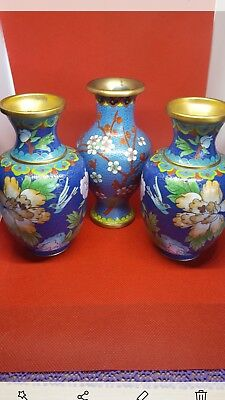 Trio Of Stunning Collection Of Antique Japenese Vases Japanese cloisonne vases