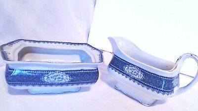 A Vintage Blue And White Small Tureen No Lid - Royal Corona Ware Gravy Boat (P)