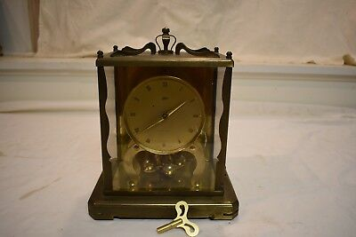 Vintage German Schatz 1,000 Day Fine Brass And Glass Parlor Clock Running Fine