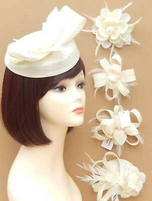 Ivory Fascinator Clip Brooch Hair Flower Mesh Wedding Prom Ladies Day Races UK