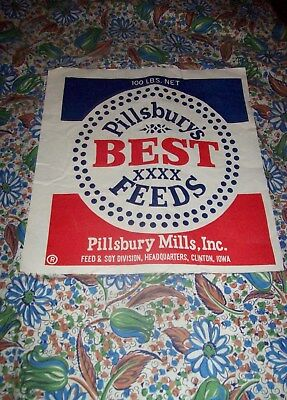 "Vintage 100# ""pillsbury"" Feedsack W/ Label Unopened, 36""x46"" Fabric,clinton,ia"