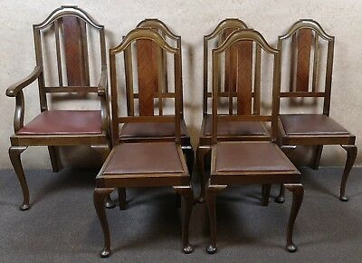 Set Of Six Queen Anne Mahogany Chairs