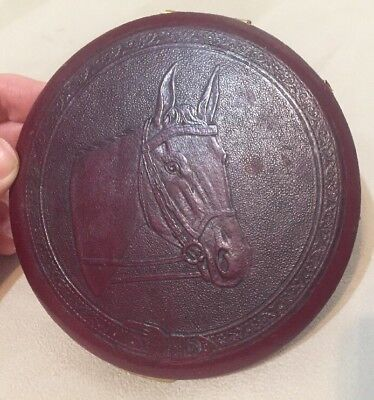 """Vintage Rex Fifth Ave  4-1/2"""" Woman's Make-Up Compact...Beautiful Horse Equine"""