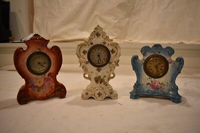 Three Fine Antique Porcelain China Cased Parlor Clocks Circa 1900 Clean And Runs