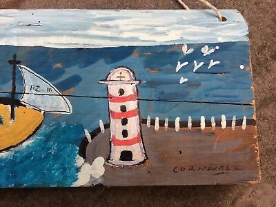 shabby chic boat & harbor painting on old pine , lighthouse, Cornwall