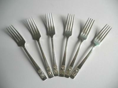 "6 Oneida Hampton Court/Coronation Silver Plated Dessert/Dinner Forks 7""/18cms"