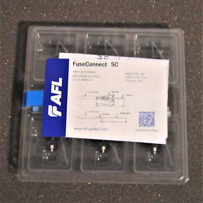 Pack of 6 AFL FuseConnect SC Field Installable Connector SMF 3mm FUSE-SC3SMU-6