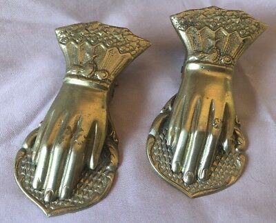 Two Rare Vintage Brass Hand Paper Clips