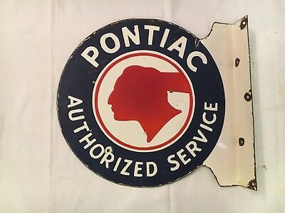 1940s Vintage Pontiac Authorized Service Porcelain 2 side Flange Enamel Sign