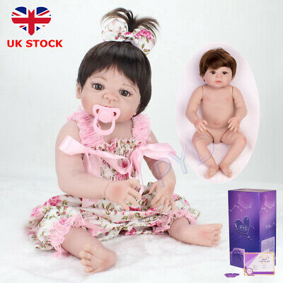 "22"" Full Body Vinyl Silicone Reborn Baby Dolls Lifelike Newborn Girl Doll Xmas"