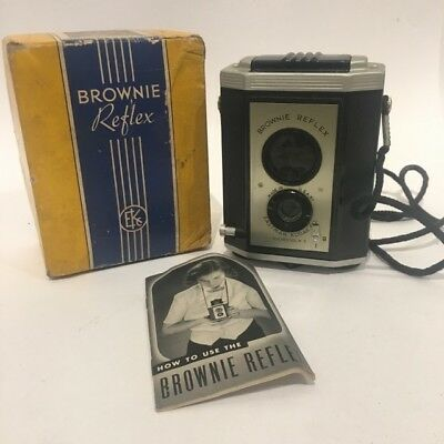 Vintage Kodak Brownie Reflex Synchro Model Camera W Original Box