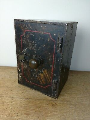Antique Vintage Rare small Safe strongbox with key and original paint decoration