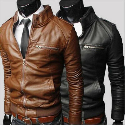 Men Clothing Slim Fit Stand Collar Motorcycle  Synthetic Leather Jacket Outwear