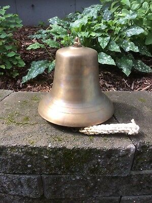 "Vintage Antique Brass Bronze 8-1/4"" Tall Ship's Bell with Clapper w/o Mount"