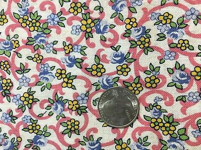 43 X 35 VINTAGE COTTON FEEDSACK Feed Sack FABRIC Ditsy Print Floral Blue Pink