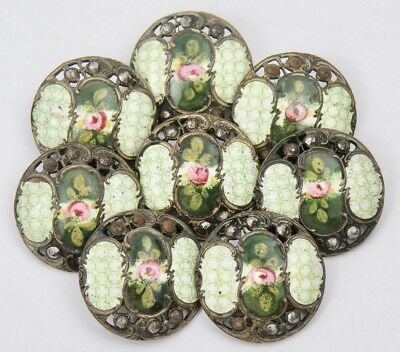 ANTIQUE 19th CENTURY SET OF 8 HAND PAINTED ENAMEL STEEL CUT BUTTONS