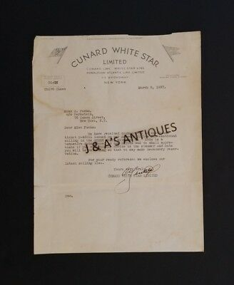 1937 Cunnard White Star Limited Letterhead ~ Cunard Line ~ White Star Line ~ NY
