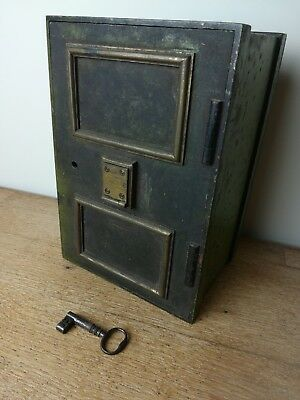 Antique Vintage Rare small Safe strongbox with skeleton key and original paint