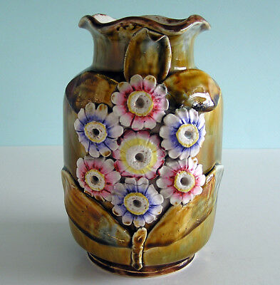 Vintage Art Pottery or Majolica Vase with Dragonfly and Brightly Colored Zinnias