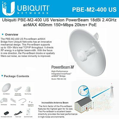 Ubiquiti PowerBeam M2 PBE-M2-400 2.4GHz 400mm airMAX Bridge Reflector Dish *NEW*