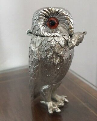 Sterling Silver Owl Mustard Pot & Mouse Spoon - Richard Comyns 1960 Garrard