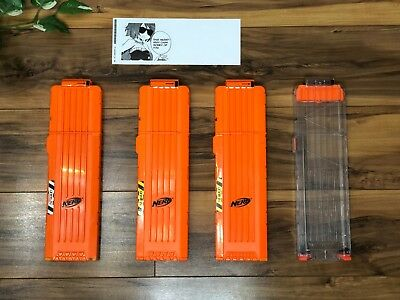 Lot of 4 Nerf N-Strike Orange & Clear Elite 18 Dart Clip