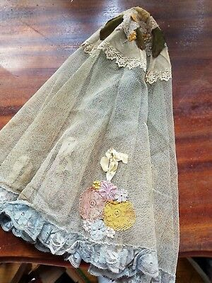 """Antique French Net Lace Parasol Cover Table Topper 29"""" Round Fabric Flower Doily"""