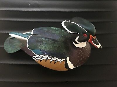 Hand Carved Painted  Wood Duck Decoy - Open/2900 - Loon Lake Decoy