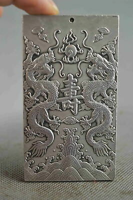 Collectable Handwork Decor Miao Silver Carve Dragon Ancient Exorcism Pendant