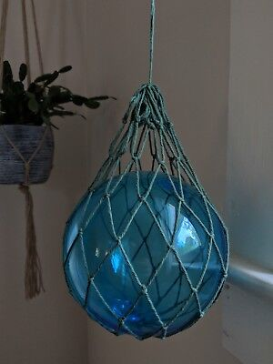 "Hand Blown Vintage Japanese Glass Buoy Fishing Float 5 7/8"" Blue Nautical Decor"