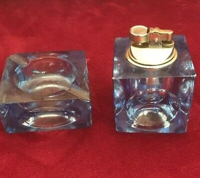 Vintage Blue Glass Cube Table Cigarette Lighter With Ash Tray